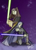 Master Unduli and Barriss by DarthZini