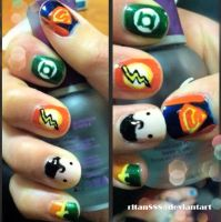 DC Comic Superhero Nails by rltan888