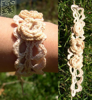 Crocheted Rose Wristlet by pearlzenith