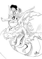 Luffy and Panda: Dragon Adventures sketch by Arcane-Panda