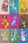 Eeveelution Art Cards by bunnychan