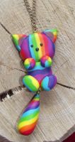 Rainbow cat necklace by MeticulousBlue