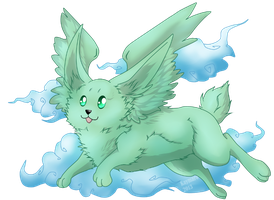 flying mint bunny by Kaymaro