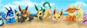 Eevees on the beach by quartzy