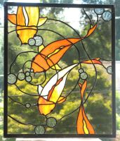 Koi Stained Glass Panel by trilobiteglassworks