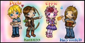 Hunger Games Chibis colored by Fallonkyra