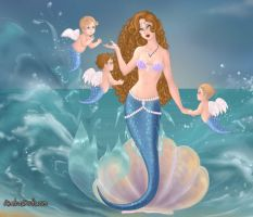 Mer-Mommy and half-Angel Mer-babies by LadyIlona1984