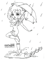Umbrella - lineart by JadeDragonne