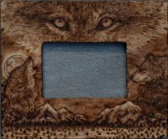 Pyrography Wolf Picture Frame by Blitz32