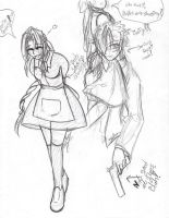 Reno and Aerith mischeif by IllusionedTime
