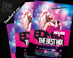 EDM Electro House Music Flyer Template PSD by REMAKNED