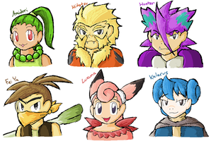 Pkmn Crystal - Humanized Team by Azuroru