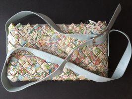 Purse with handle, British maps 04 by SecondChanceCrafts