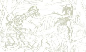 Brunhilt Vs. Anngedon First Sketch (2013) by LaNora-84