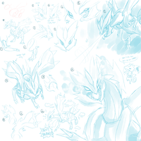 Sorbet the Kyurem Sketchdump by Haychel