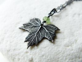 (Baby) Big Leaf Maple Pendant, Green Tourmaline by QuintessentialArts