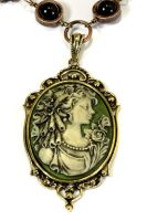 Neo Victorian Necklace Lady Cameo Dark Green by CatherinetteRings
