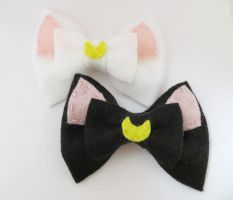 Moon Kitty Bows by geek-i-licious