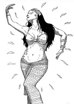 Belly dancer lineart by JohnGriffith
