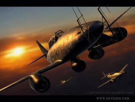 Me-262 Night fighter by Oxygino