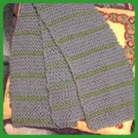 Cloudy Blue and Green Lined Scarf by Wootzie14