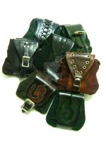 Leather and Suede Belt Pouches by OfTheGodsBlood
