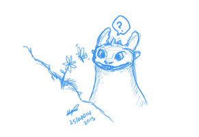 Curious Toothless - drawing request by Puzzlr