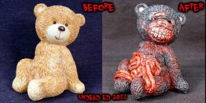 Zombie Guts Bear OOAK compare by Undead-Art