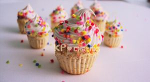 Rainbow vanilla cupcake charm by KPcharms