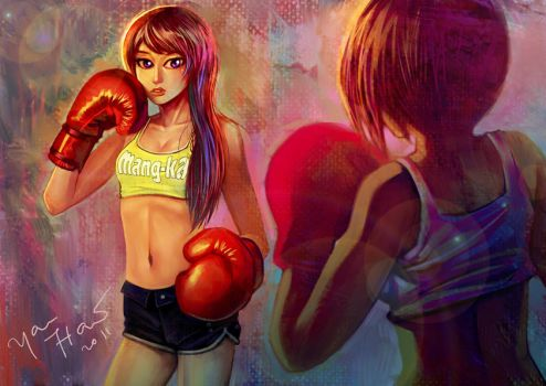 boxing girl by uhaw