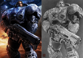 Jim Raynor (Original Vs. Drawing) by yipzhang5201314
