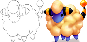 Colored Mareep - Before And After by chocolatechiplague