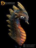 Rock Dragon bust - painted by drakoncast