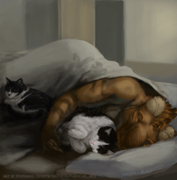 Kitty Snuggle Time by LeccathuFurvicael