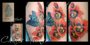 Harlequin Flower Tattoo by Metacharis
