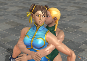 Cammy Kissing Chun-Li s Cheek by hendriw