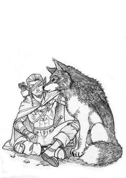 Elf and Wolf by Drew-Draw