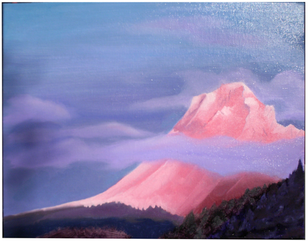 Pink Wintery Mountain Sunset by MoonBlu