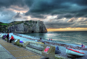 Evening at Etretat by BluePalmTree