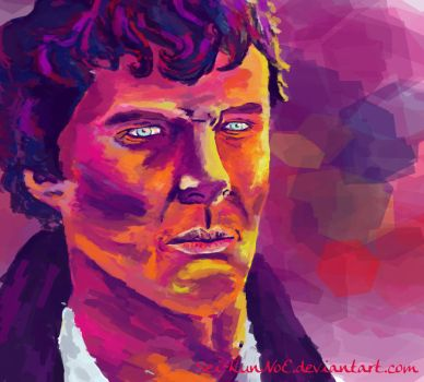A study of various pink colours of Sherlock's face by Sei-KunNoE