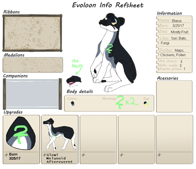 Evoloon Tracker and Ref Sheet: Blaise by xXRollingGirlXx