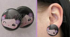 Geisha earring violet by Elichan83