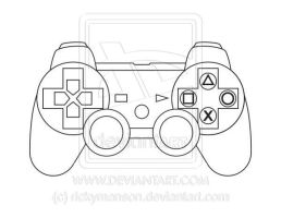 Vector: Sony PlayStation 3 controller lineart by rickymanson