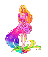 Tangled: Rainbow Rapunzel by YukiHyo