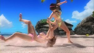 Hitomi vs Kasumi Beach Fight 17 by SwarmlordTrainee