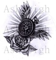 Winged Compass and Rose by tattoosbyashleigh