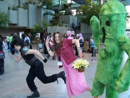 Zack, Aerith, Cactuar by 93FangShadow
