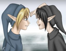 Link vs. Dark Link . by Tpose
