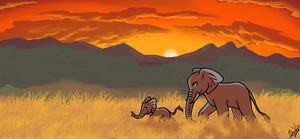 Contest Entry - Walk at Sunset by OmbraniWolf