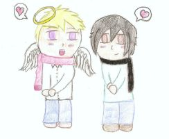 Luce and Daniel (Chibi) by CrazyLittleWolf